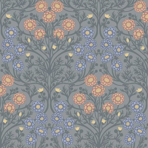 Bellis Wallpaper Blue Pink Yellow