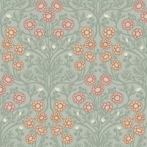 Bellis Wallpaper Green Pink Orange