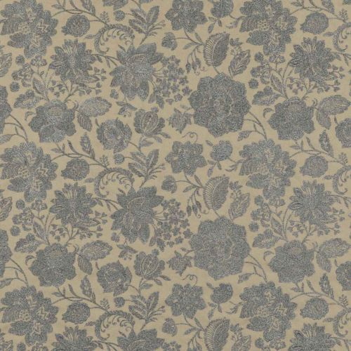 Berwick Embroidered Fabric Blue Floral