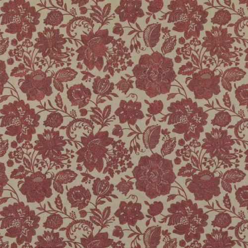 Berwick Embroidered Fabric Red Floral