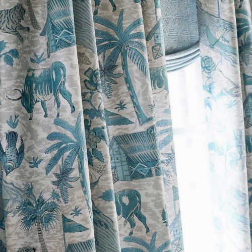 Blue and Grey Curtain Fabric
