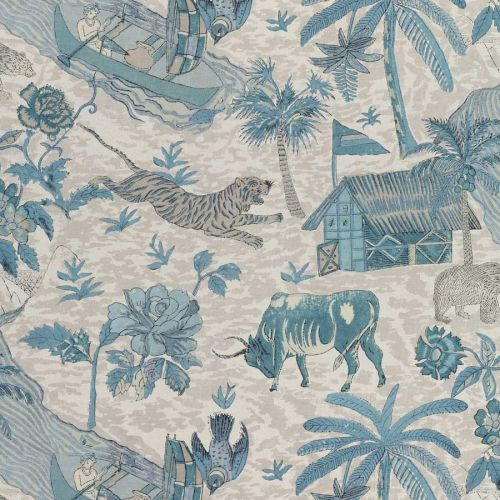 Blue and Grey Fabric
