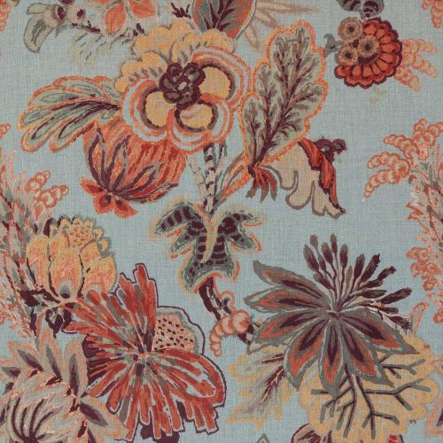 Blue and Orange Floral Fabric