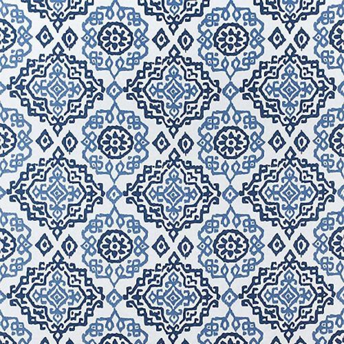 Blue and White Embroidered Fabric