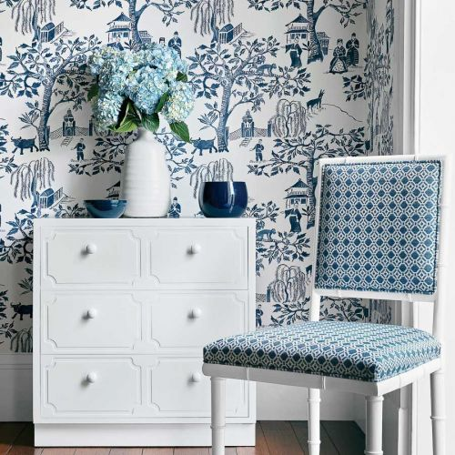 Blue and White Toile Wallpaper