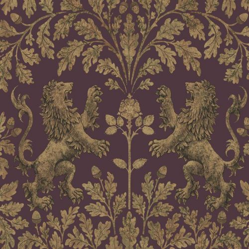 Boscobel Oak Gold and Claret Wallpaper