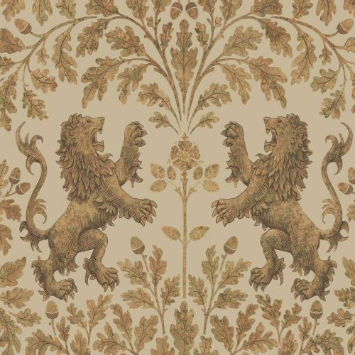Boscobel Oak Gold and Neutral Wallpaper