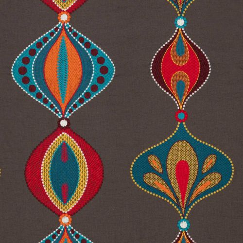 Brown Embroidered Fabric