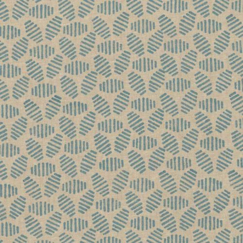 Bumble Bee Linen Fabric Soft Blue