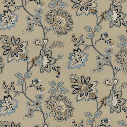 Burford Embroidery Fabric Blue Floral