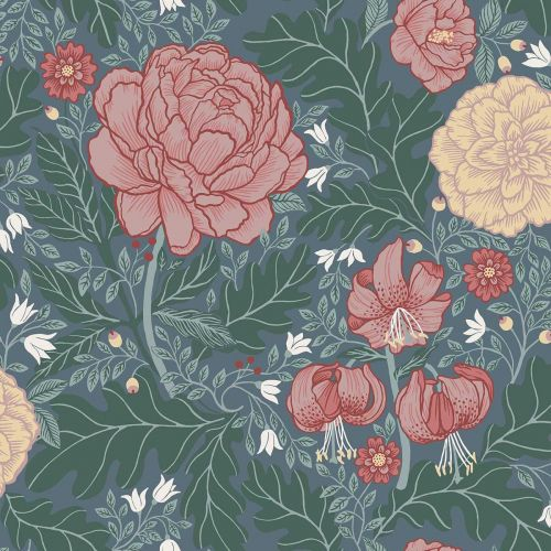 Camille Floral Wallpaper Blue Pink Green