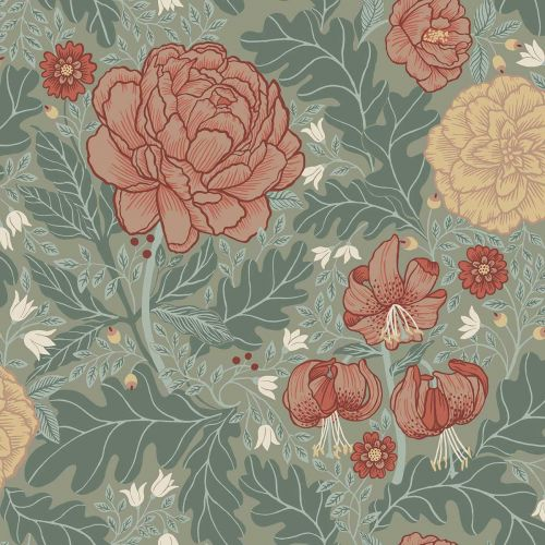 Camille floral Wallpaper Green Pink