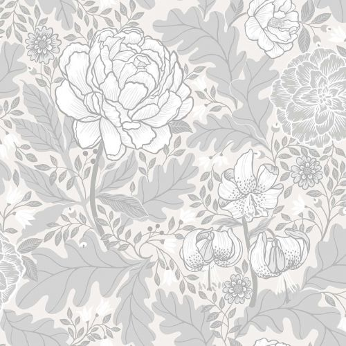 Camille Floral Wallpaper Grey Neutral