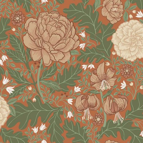 Camille Floral Wallpaper Red Orange Green