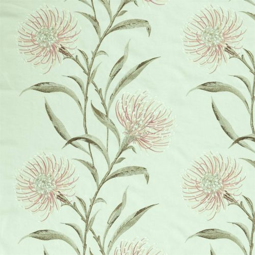 Catherinae Embroidery Fabric Silver Mint Green