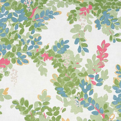 Central Park Fabric Green Red Coral Leaf Print