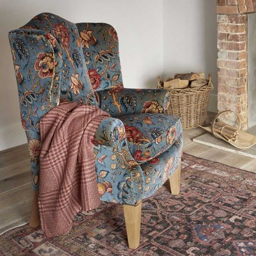 Chatterpie Blue and Red Floral Velvet Armchair