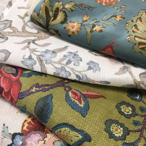 Chatterpie Green Floral Linen Fabric