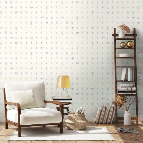 Cleo Blue Insect Printed Wallpaper