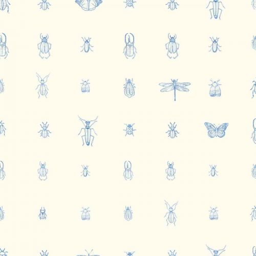 Cleo Wallpaper Marin Blue Insect Print