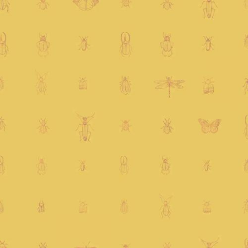 Cleo Wallpaper Ochre Yellow Insects