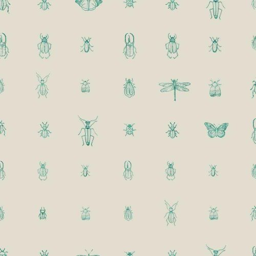 Cleo Wallpaper Teal Insect Print
