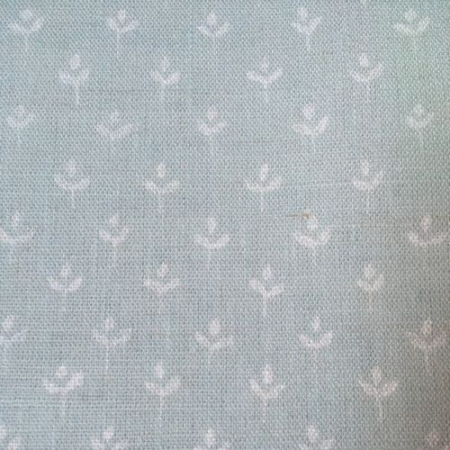 Coco Linen Fabric Duck Egg Blue Small Floral