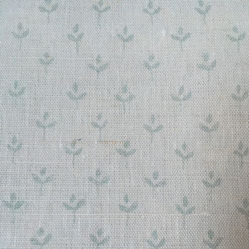 Coco Linen Fabric Faded Duck Egg Blue Floral Print