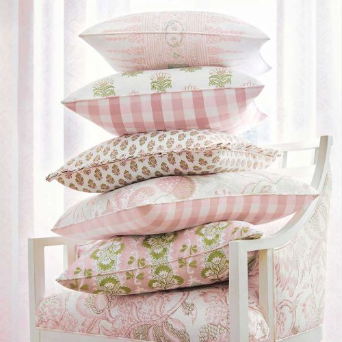 Cornwall Blush Pink and Green Floral Linen Fabric