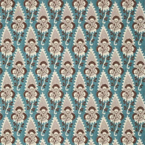 Cornwall Wallpaper Brown and Slate Blue Floral