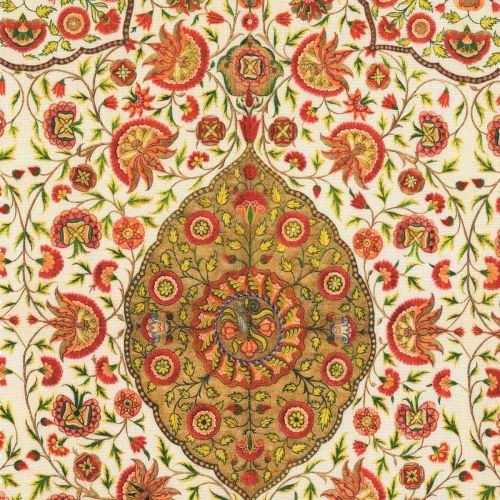 Csardas Linen Fabric Green White Red Taupe