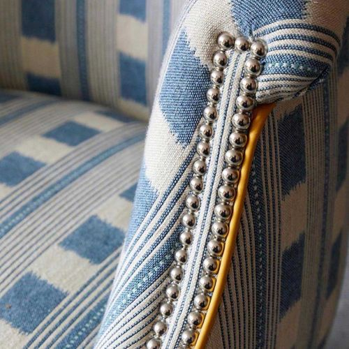 Cream and Blue Striped Fabric