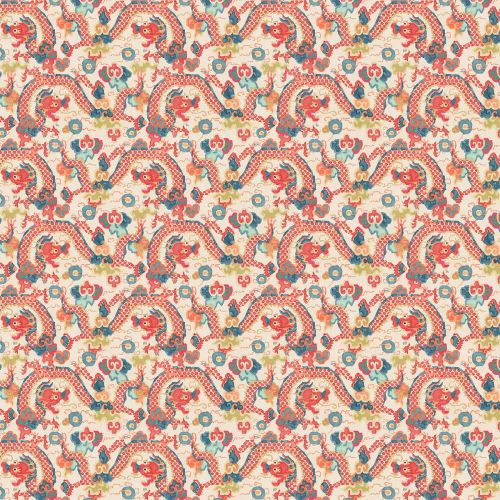 Double Dragon Coral Pink and Blue Wallpaper