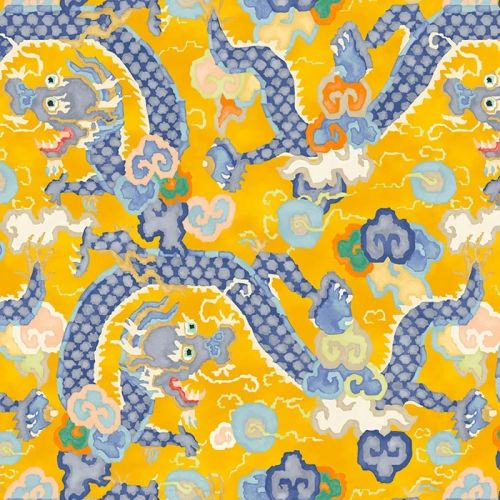 Double Dragon Wallpaper Yellow and Blue