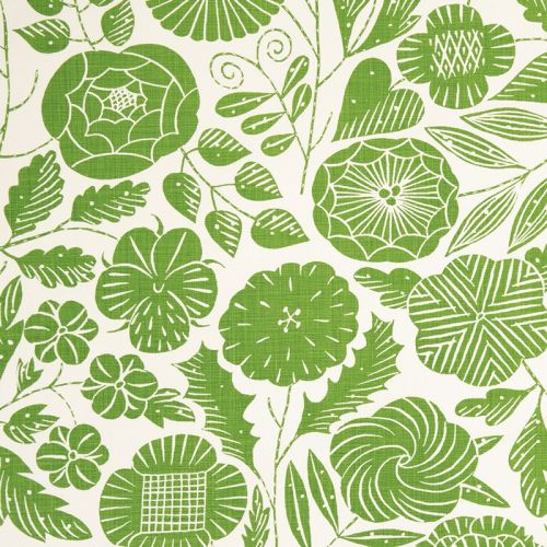 Eden Linen Fabric Green Floral