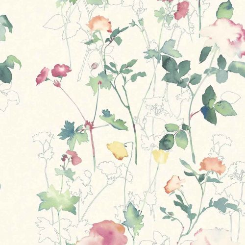 Eleanor Wallpaper Emerald Green Floral Painterly