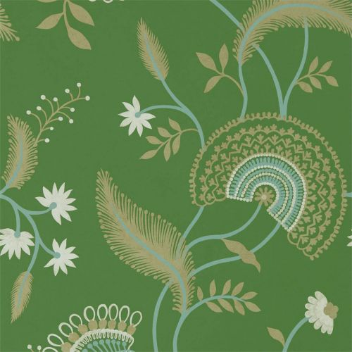 Emerald Green Floral Wallpaper