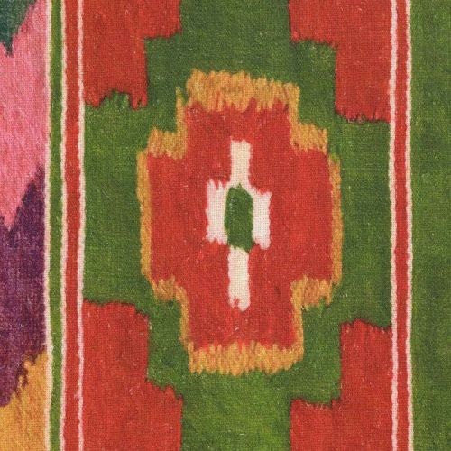 Erdely Linen Fabric Ikat Red Green White Pink Yellow