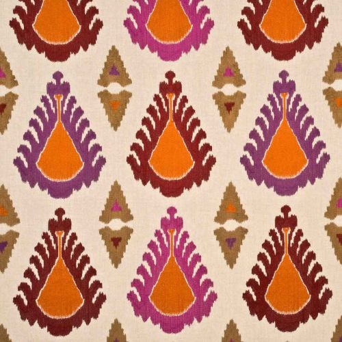 Purple and Red Ikat Fabric