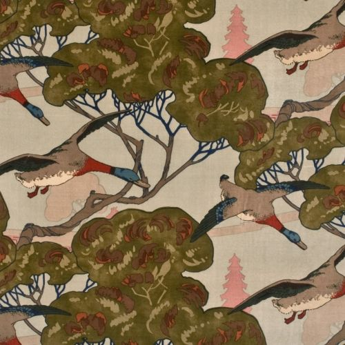 Flying Ducks Velvet Fabric