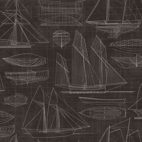 Deauville Sketched Ships Wallpaper
