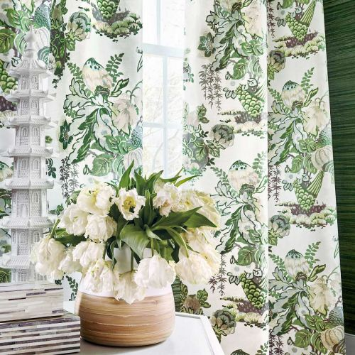 Green and White Curtain Fabric