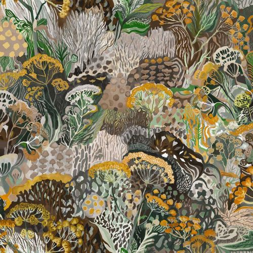 Green and Yellow Floral Wallpaper