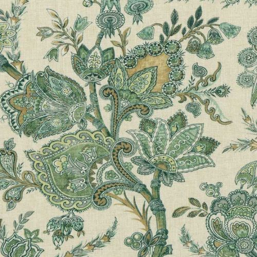 Green Patterned Upholstery Fabric