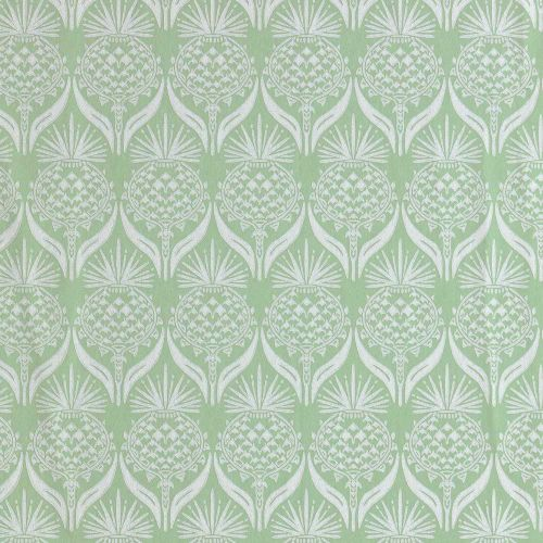 Green Wallpaper with Flowers