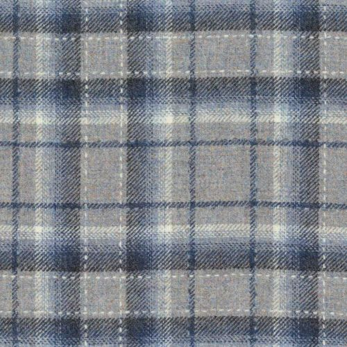 Grey and Blue Tartan Fabric