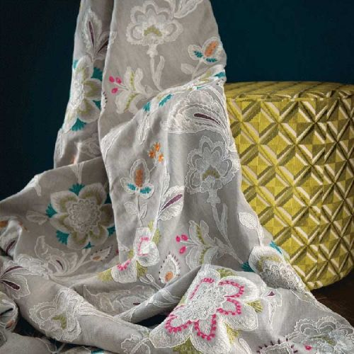 Grey Embroidered Fabric Rosings