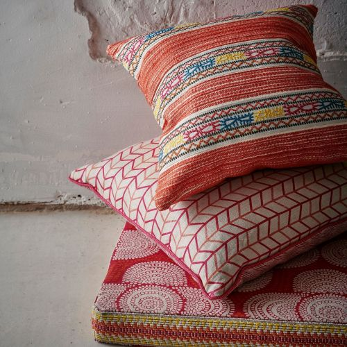 Hippie Red Woven Cushion Fabric