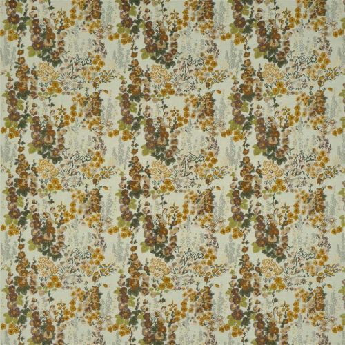 Hollyhock Embroidered Fabric Ochre Autumn Floral