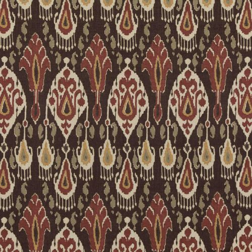 Ikat Bokhara Fabric Espresso Brown Red